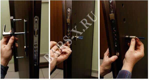 смена личинки цилиндрового замка в металлической двери фото